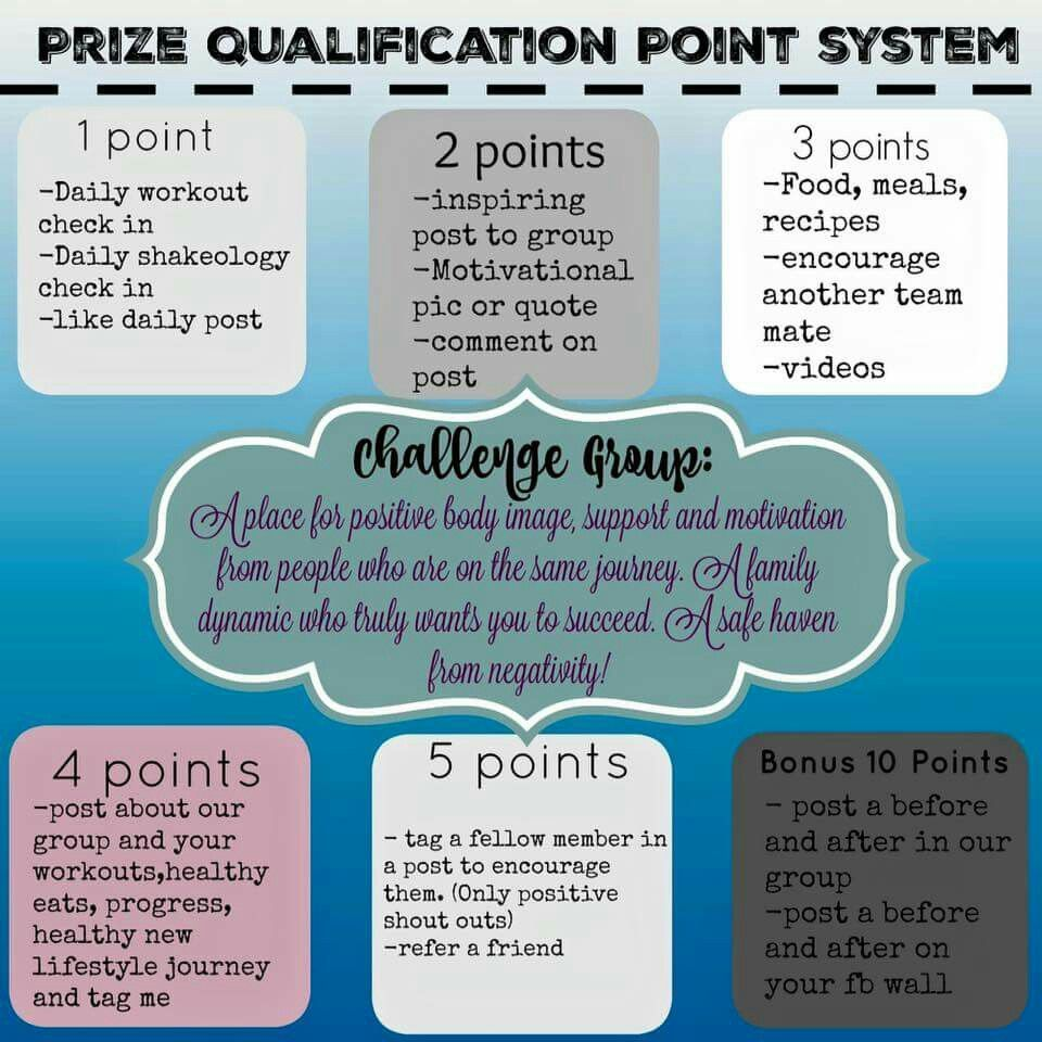 Prize point system Challenge group, Beach body challenge