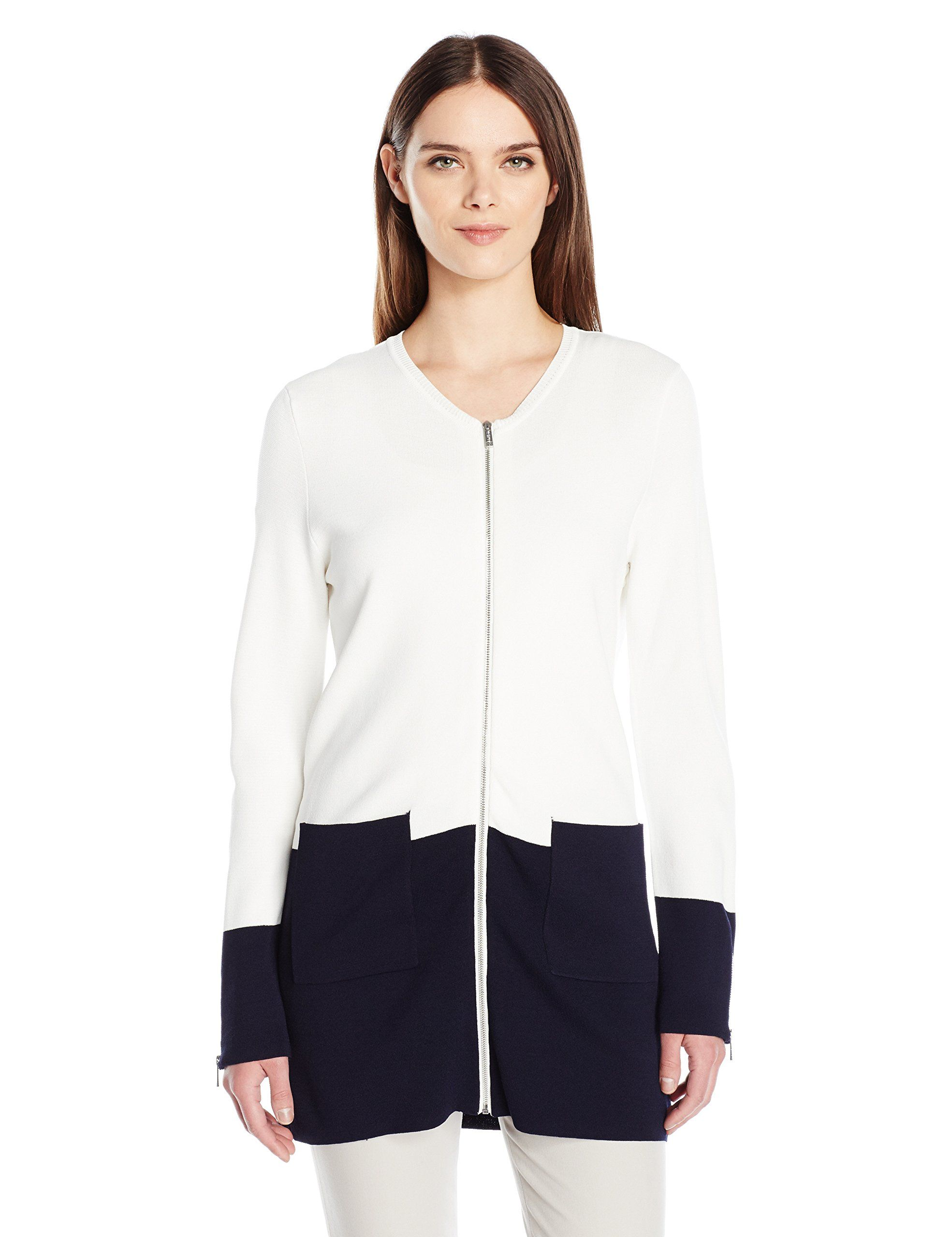Calvin Klein Women's Long Colorblock Zip Cardigan, Soft White/Twilight Multi, L