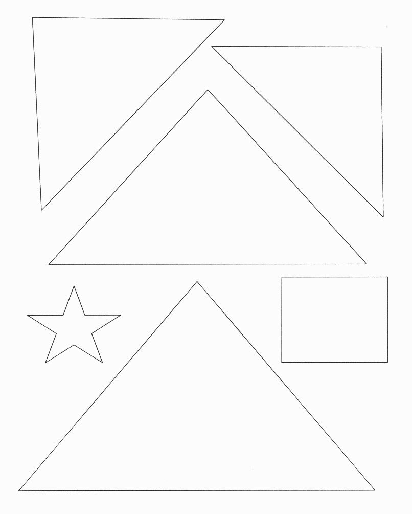 christmas tree template with shapes star square triangle and