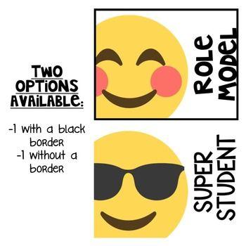 Editable behavior clip chart printable emoji themed also rh pinterest