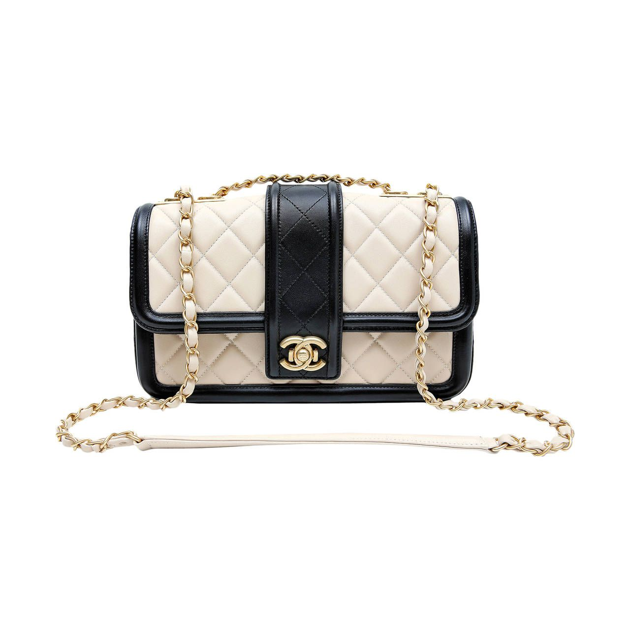 9041dc3db9a2 Chanel Beige Leather Black Trim Flap Bag | From a collection of rare  vintage shoulder bags