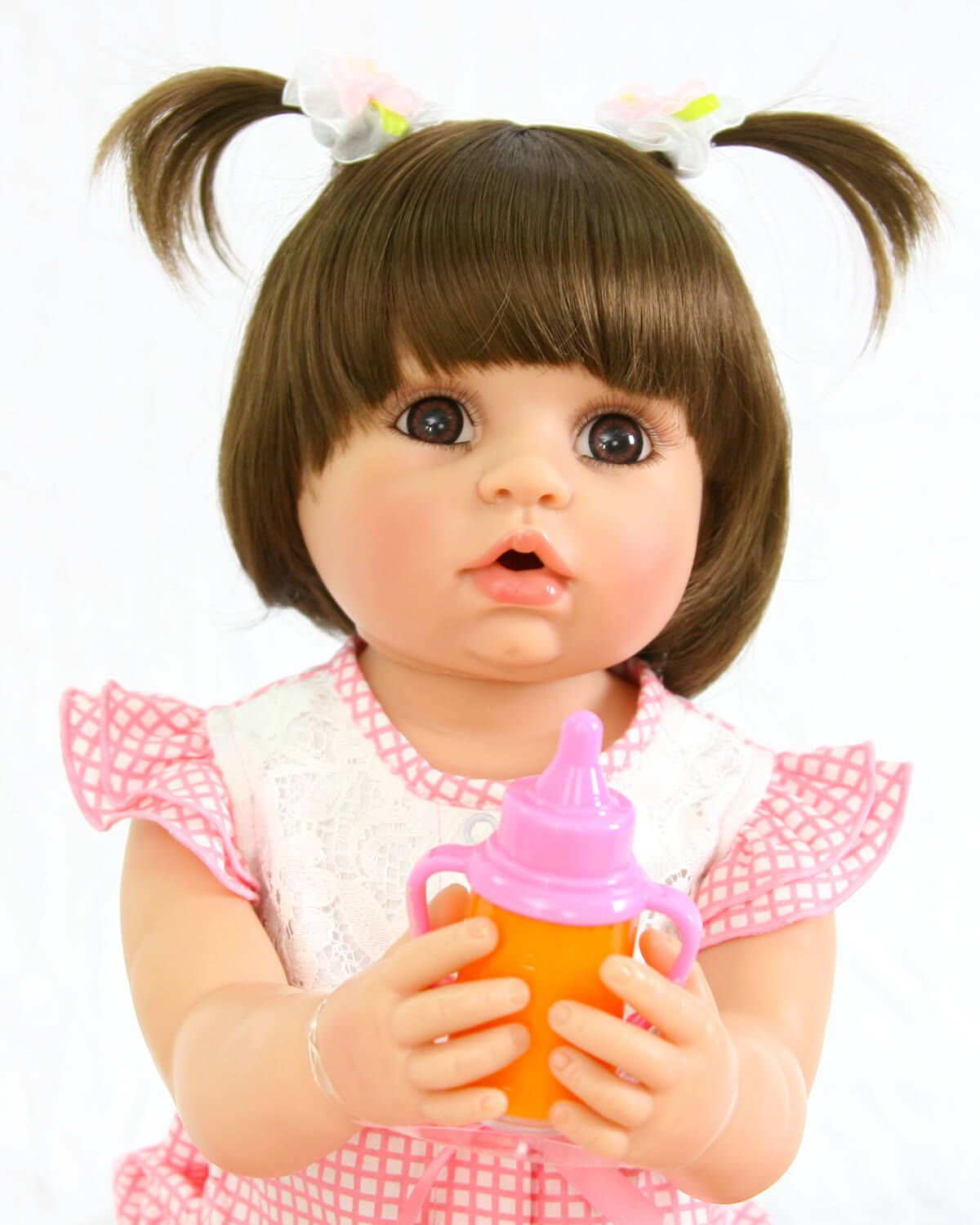 "18/"" Realistic Looking Reborn Baby Girl Dolls Vinyl Silicone Lifelike Gold Hair"