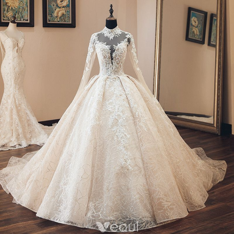 88db94531b05b Luxury / Gorgeous Vintage / Retro Champagne See-through Wedding Dresses 2019  Audrey Hepburn Style Ball Gown High Neck Long Sleeve Backless Appliques  Lace ...