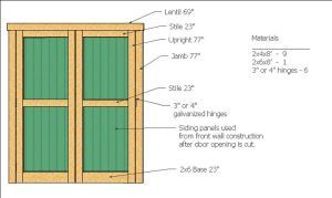 door construction and cuts with these wood shed plans