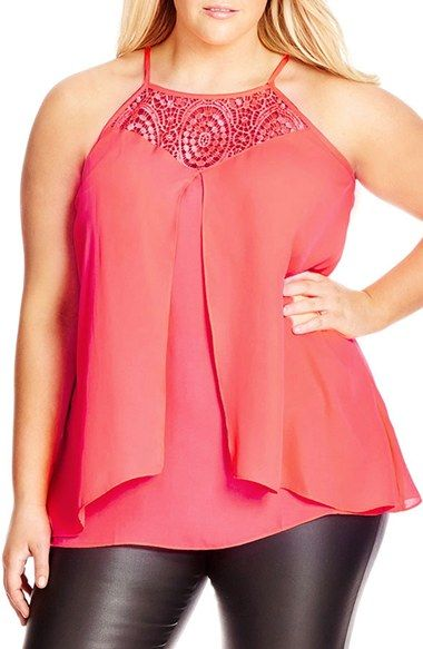 City Chic Crochet Front Top (Plus Size)