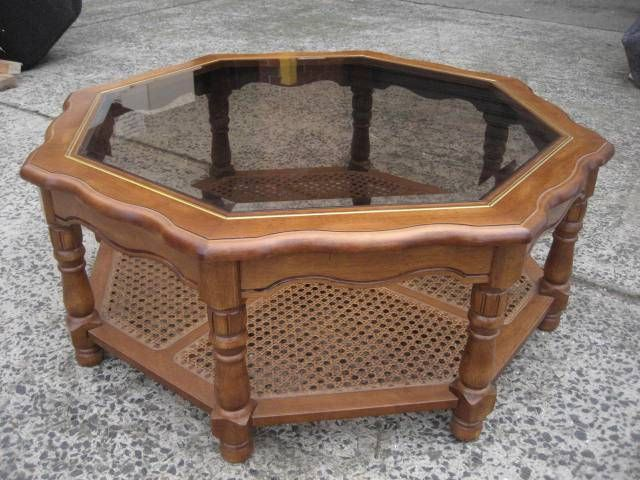 Vintage Octagon Glass TOP Coffee Table 2 Tier Cane Timber