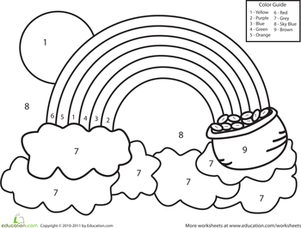Worksheet. Color by Number Rainbow  Kindergarten colors Number worksheets