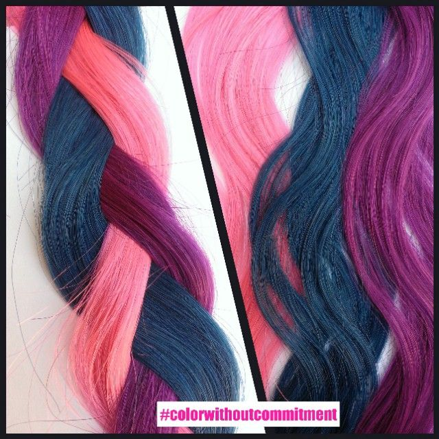 Krazy Kolors: fun colored tape-in hair extensions in Blue, pink, purple, teal, red, and 350 dark magenta