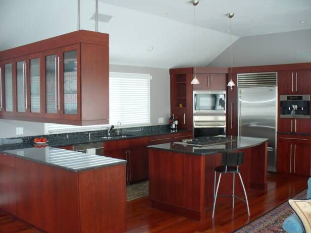 Best Cherry Full Overlay Cabinets With Blue Pearl Countertops 400 x 300