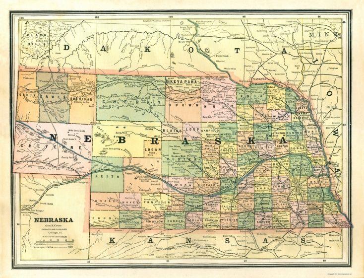 Old State Maps | NEBRASKA STATE MAP BY GEO. F. CRAM 1886 | Track ...