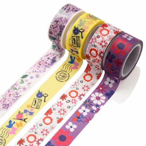 5M Floral Washi Tape Masking Tape Scrapbook Decor Craft Paper Adhesive Sticker