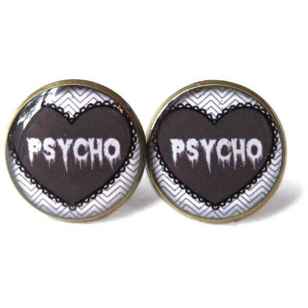 Grey Creepy Cute Drippy Psycho Stud Earrings, Pastel Goth Soft Grunge... ($14) ❤ liked on Polyvore featuring jewelry, earrings, accessories, black, grey earrings, grunge jewelry, gothic earrings, stud earring set and black jewelry