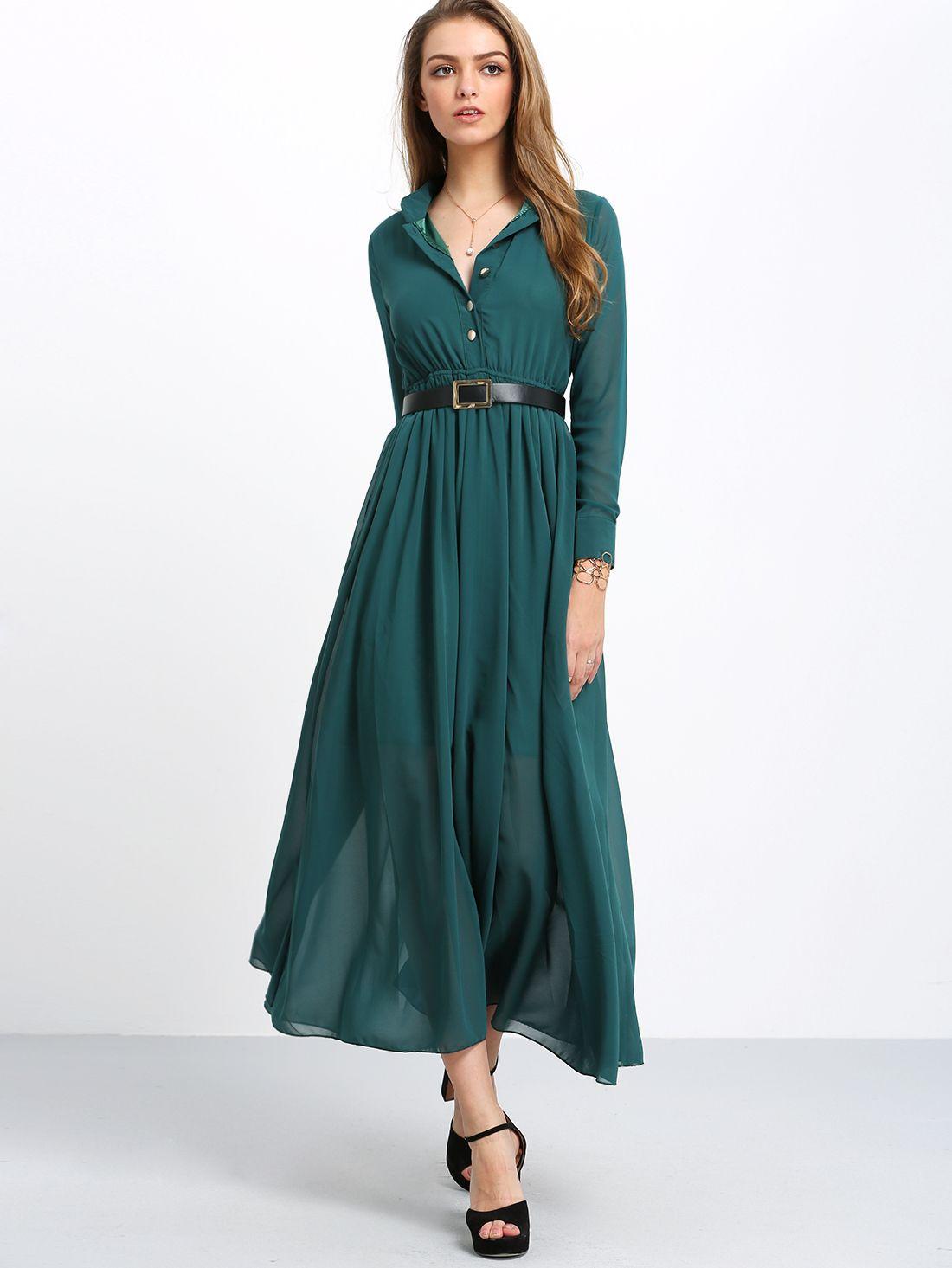 Green long sleeve buttons maxi dress makemechiccom maxi dresses