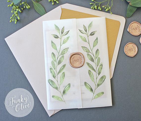 Wedding Invitations Albuquerque: Laurel Watercolor Wedding Invitation Vellum Wrap Wax Seal