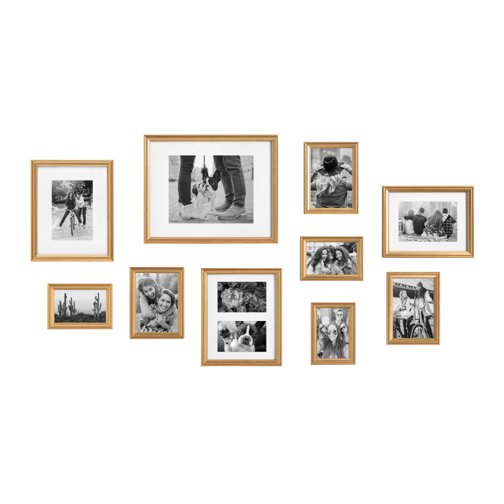 Kate And Laurel Adlynn Photo Frame Set Set Of 10 Varying Sizes Gold Traditional Glam Frame Collection For Wall Walmart Com In 2020 Picture Frame Gallery Gold Picture Frames Picture Gallery Wall
