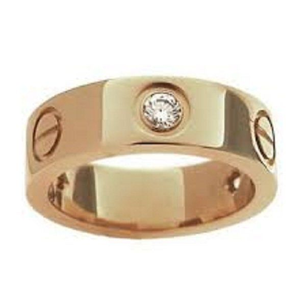 MARAT Brands® Stainless Steel Designer Inspired Love Ring Yellow Gold with Stone (5)