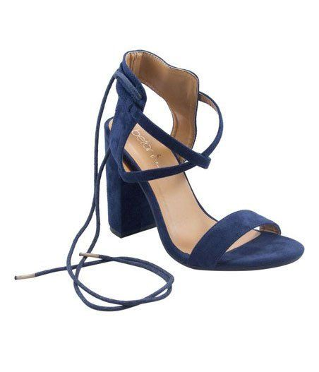 c8c71aa5c727 Navy lace up sandals with chic laces to flaunt your legs Features a  dramatic chunky heel 4