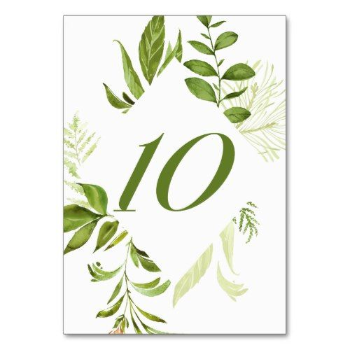 Watercolor Wild Green Foliage Table Number 10 Card Zazzle Com