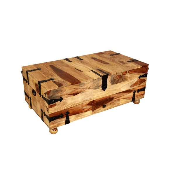 Porter Taos Solid Sheesham Rectangle Coffee Table Trunk with Wine