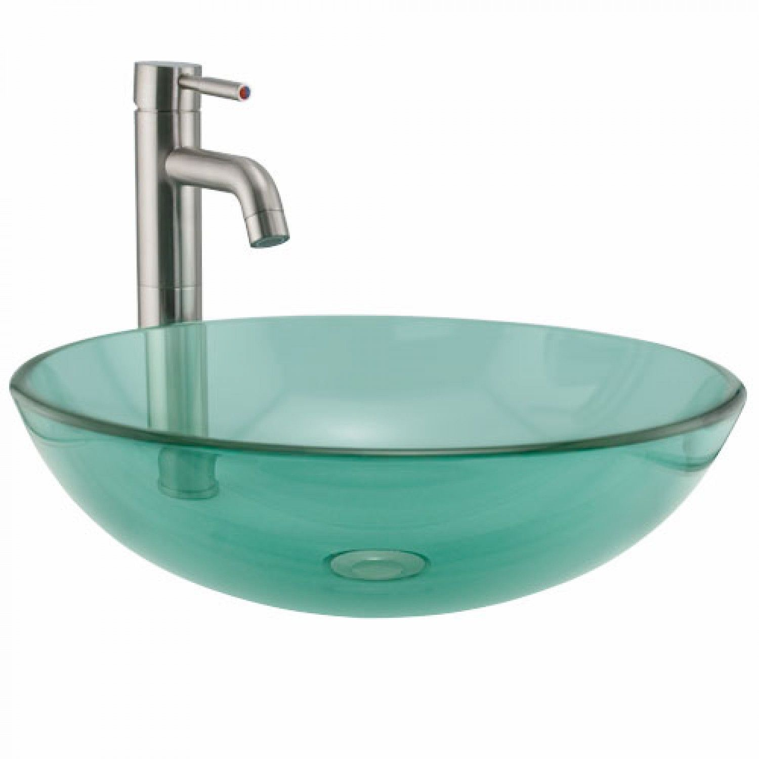 Green Glass Round Vessel Sink With Images Glass Sink Sink