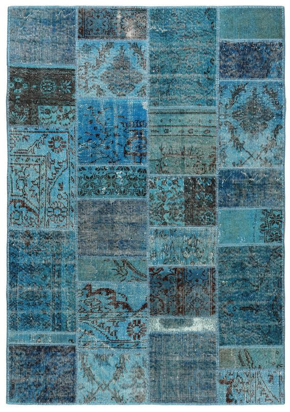 Rug 82x55 Inches Persian Modern Patchwork Carpet Turquoise Color Handwoven Wool Oriental Kilim Antique Nomad Decorative