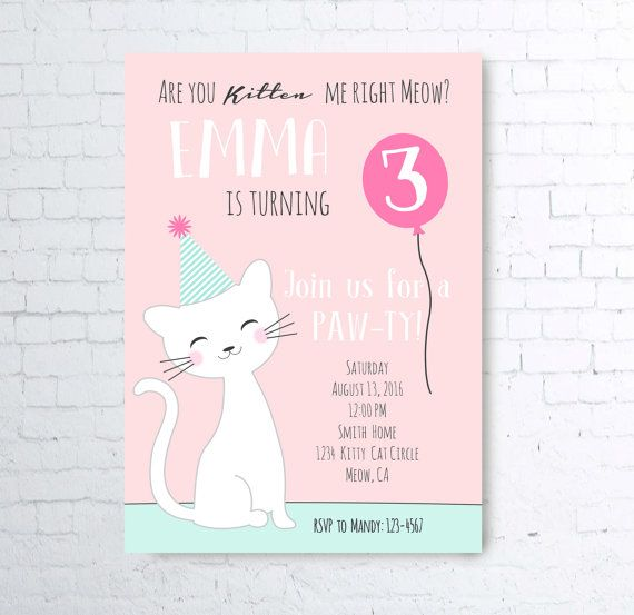 Pink Blue Are You Kitten Me Right Meow Kitty Cat Party Invite Girl