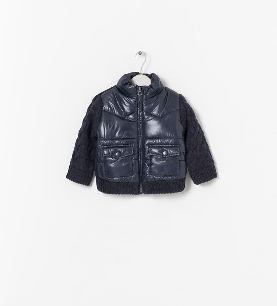 Image 1 of COMBINED PADDED COAT WITH ZIP from Zara