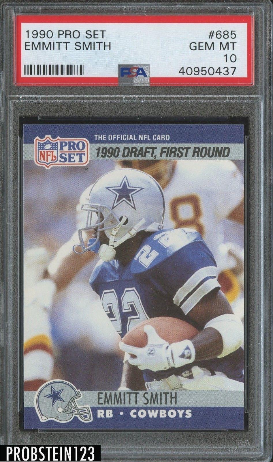 1990 Pro Set 685 Emmitt Smith Cowboys Rc Rookie Hof Psa 10