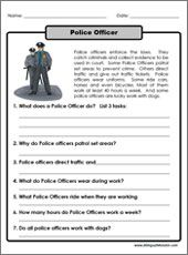 one paragraph long reading about police officers printable includes 8 reading comprehension. Black Bedroom Furniture Sets. Home Design Ideas