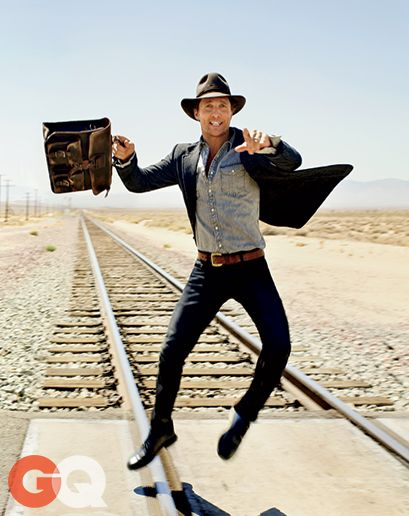 Mr Matthew McConaughey for GQ magazine november 2014 - Photographed by Peggy Sirota - Sports jacket and jeans by Gucci, shirt by Gap, J.Crew shoes, belt by Etiqueta Negra and hat by Borsalino