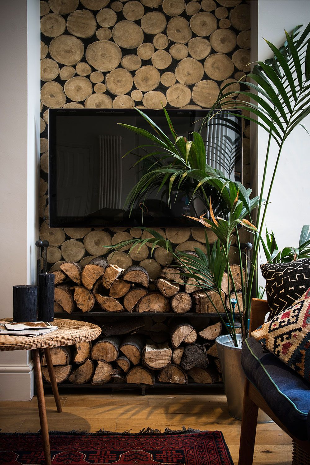 Andrew Martin Lumberjack Wallpaper Helps To Disguise The Tv