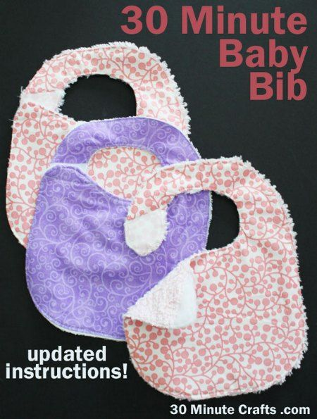 30 Minute Baby Bib With Velcro Tabs - DIY Gift World