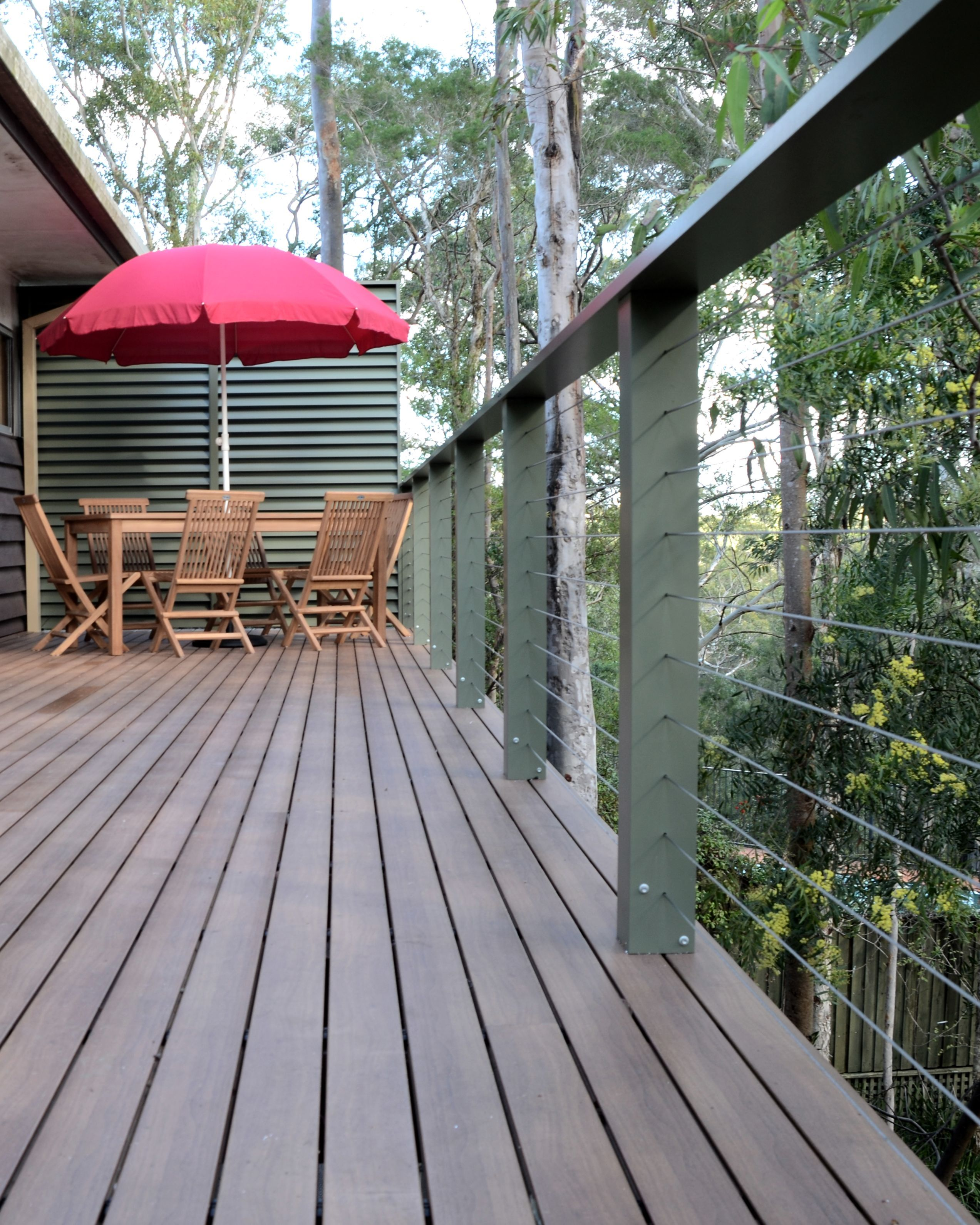 Steel Deck Boards ~ Aluminium powder coated decking boards over a boxspan
