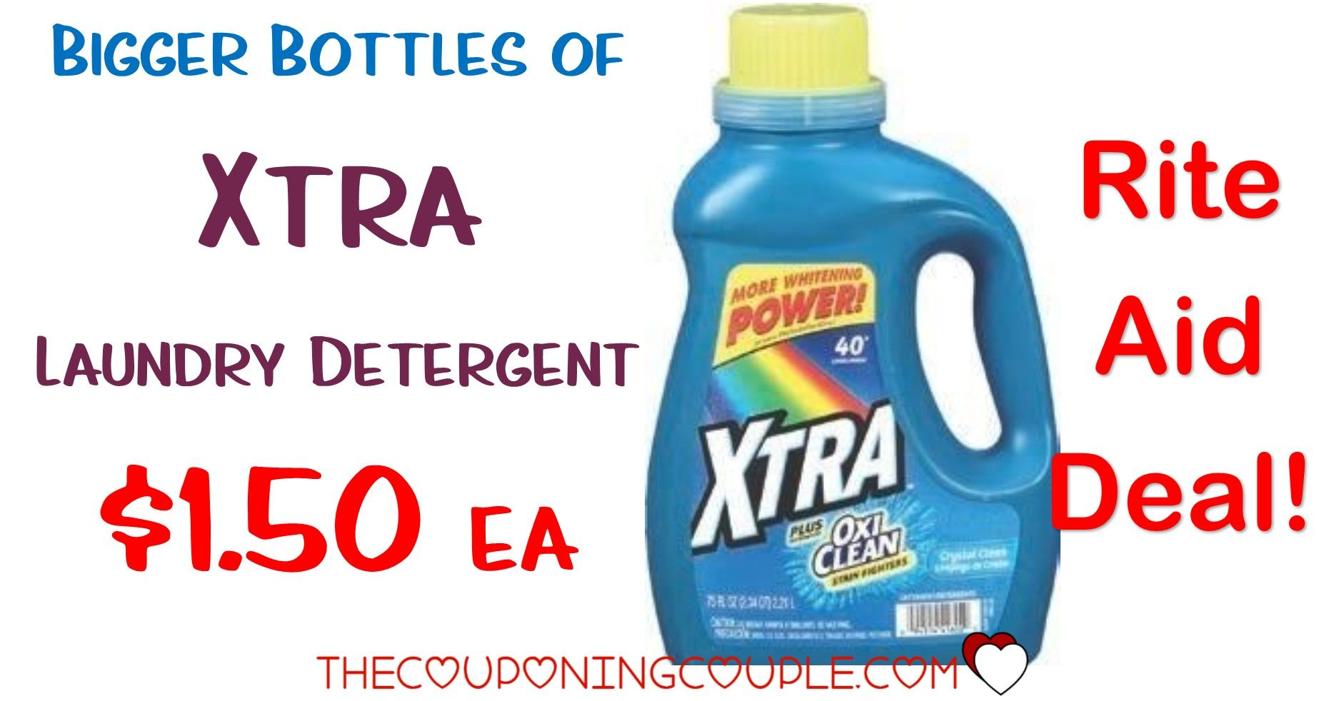 Bigger Bottles Of Xtra Laundry Detergent Deal At Rite Aid Only