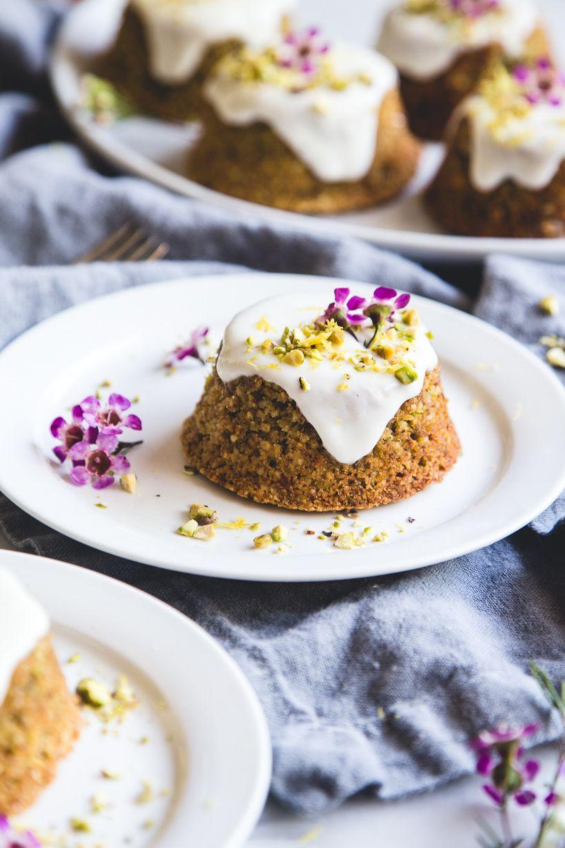 Flourless Pistachio Cakes With Honey Lemon Yogurt Glaze Recipe