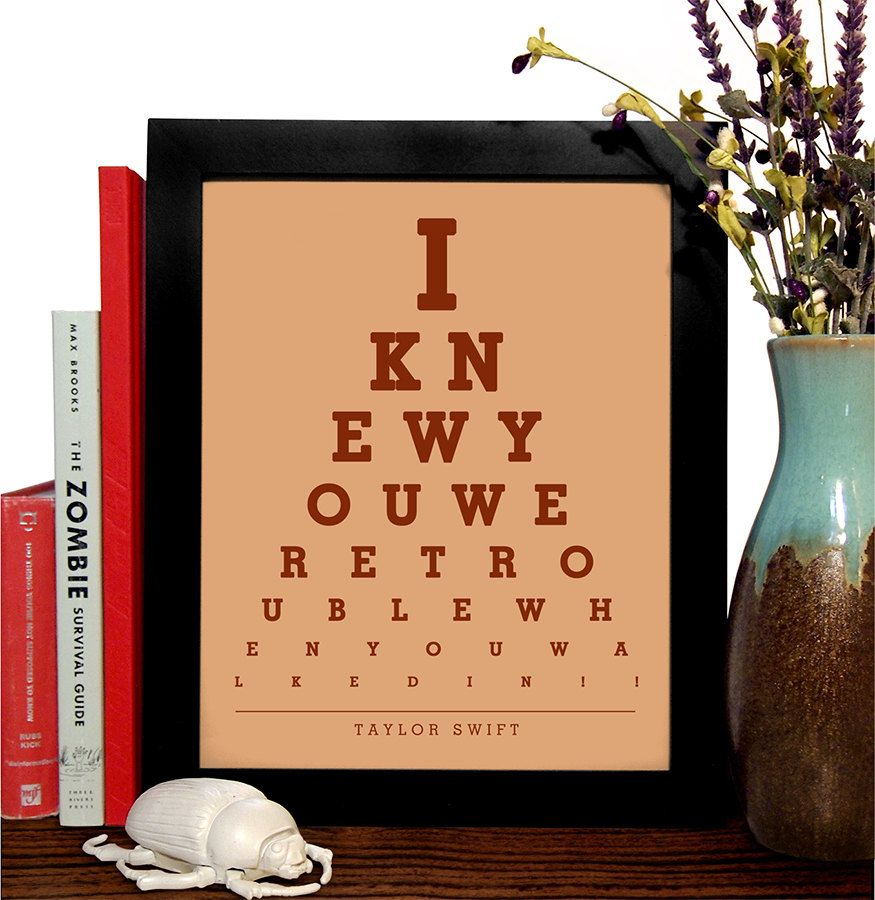 Taylor swift i knew you were trouble when you walked in eye chart the perks of being a wallflower my life is officially an after school special eye chart 8 x 10 giclee art print buy 3 get 1 free nvjuhfo Choice Image