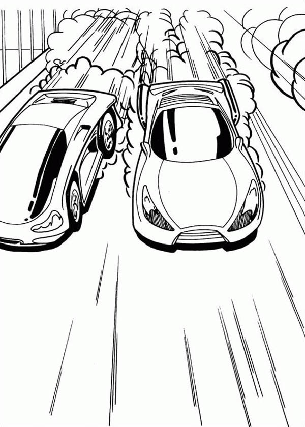 Hot Wheels Tight Race Between Two Cars Coloring Page Netart Cars Coloring Pages Race Car Coloring Pages Hot Wheels