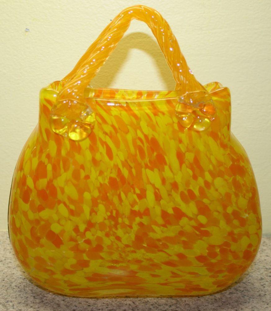 Vintage MURANO ? Hand Blown Yellow/ Orange Art Glass Purse Vase ...
