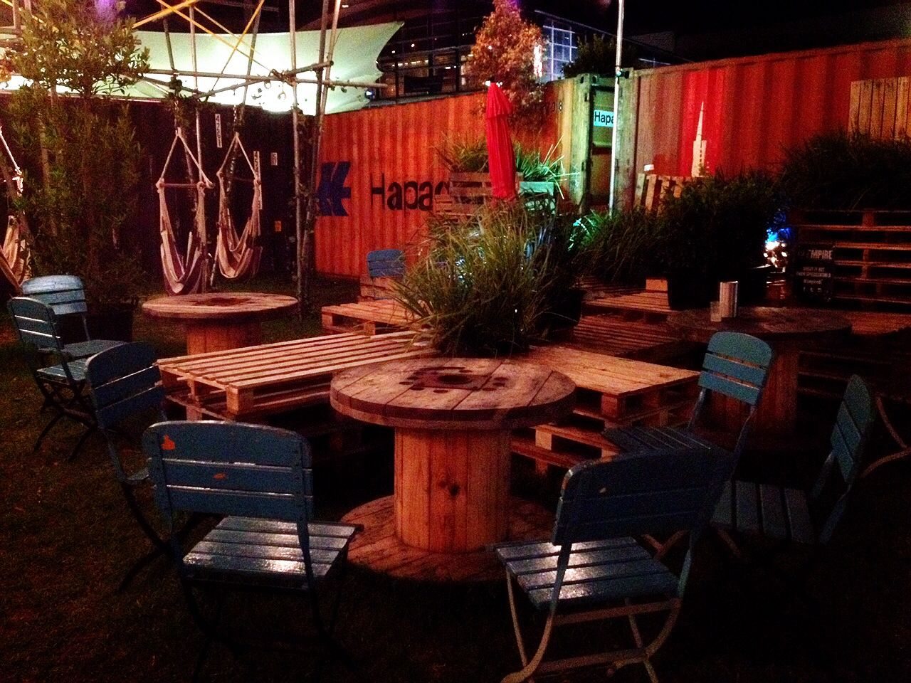 Pop Up Bar In Sydney Uses Pallets Cable Reels Shipping Containers And Scaffolding Temporary Space An Large Wooden Spools Container Restaurant Container Cafe