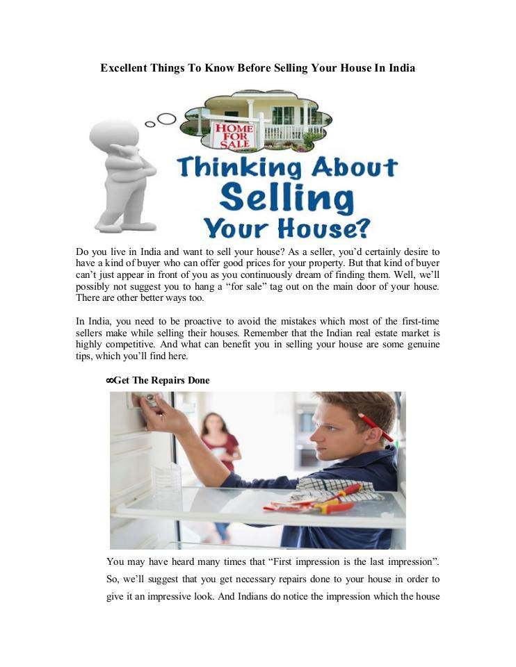 Excellent Things To Know Before Selling Your House In