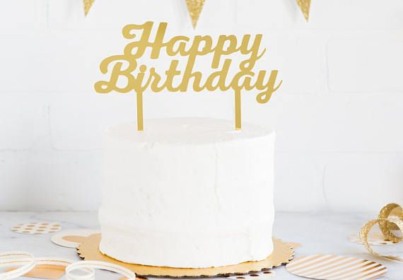 Gold Acrylic Happy Birthday Cake Topper Picks Wedding Decorations Sign