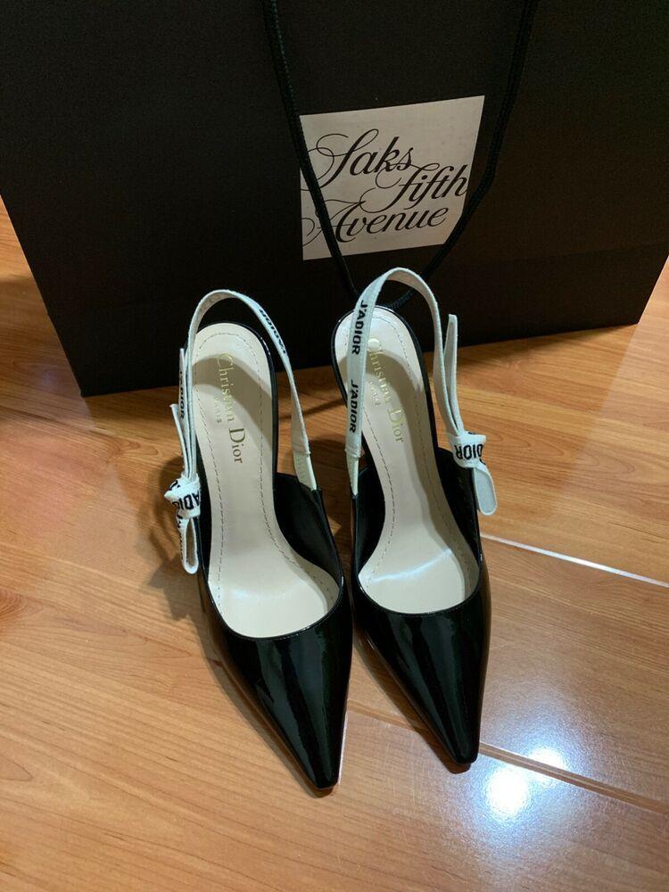 ebc10111d ENDING SOON: 100% AUTHENTIC Dior J'Adior Slingback Black Patent Leather Pumps  38 New in Box #shoes #designer