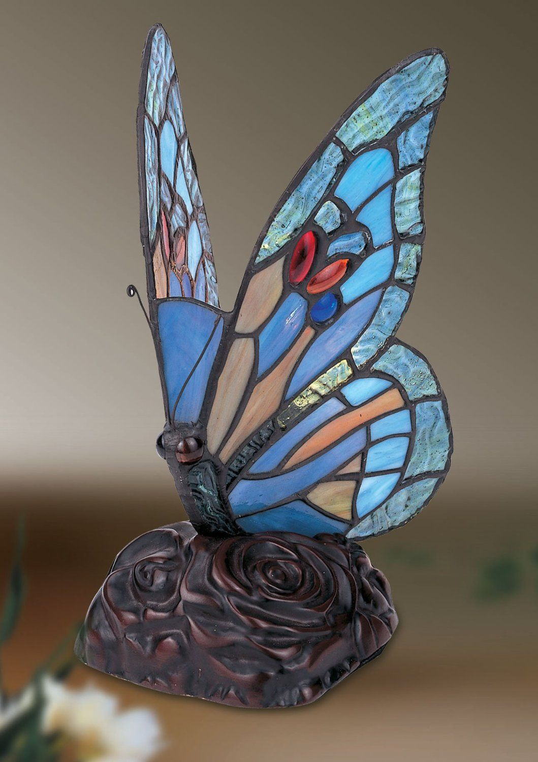 Blue Butterfly Tiffany Style Table/ Decorative Lamp: Amazon.co.uk ...