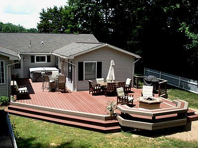Composite Deck with Benches Fire Pit and Hot Tub | Pool