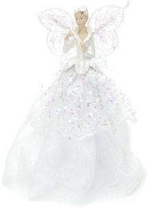 Festive Décoration Ange en tissu pour la cime du sapin Blanc 23 cm