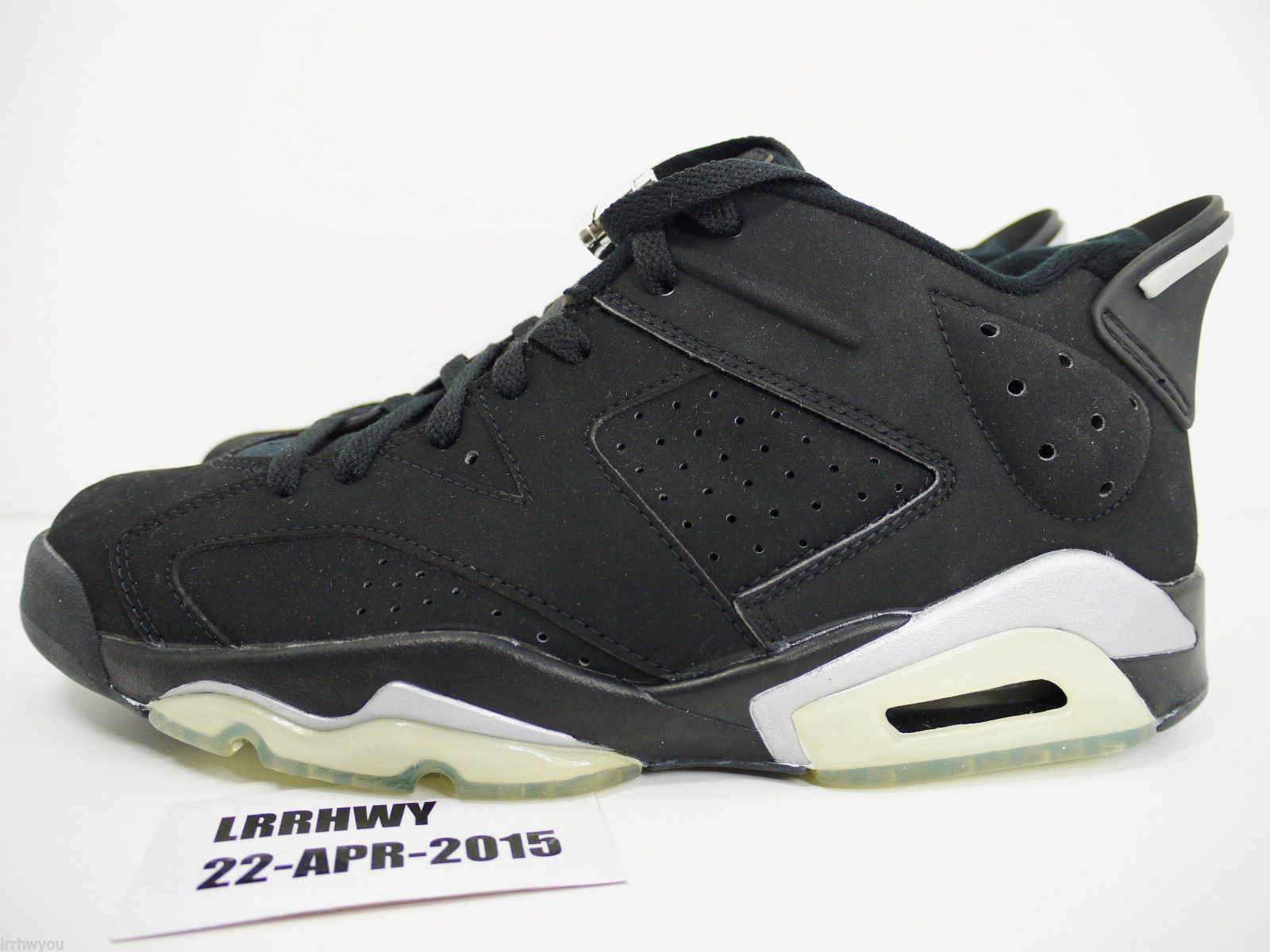 77ae5f9f736eb7 Nike Air Jordan 6 Retro Low 304401 061 Size 9 black metallic silver 2001