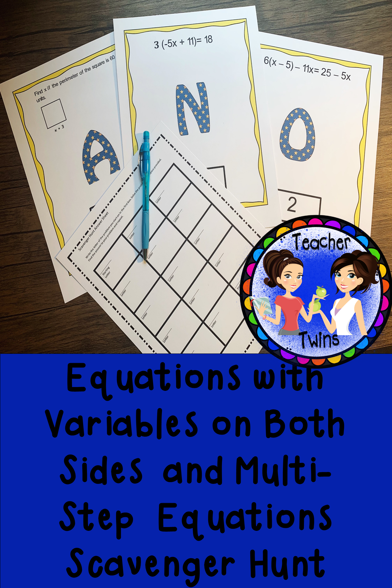 Solving Equations With Variables On Both Sides Scavenger