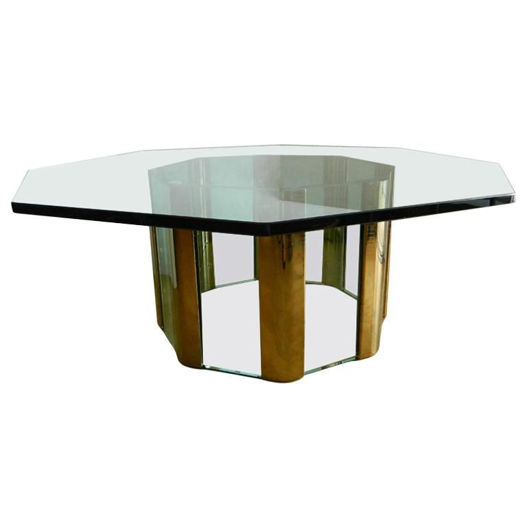 Pace Octagonal Coffee Table Glass Top Coffee Table Oval Coffee