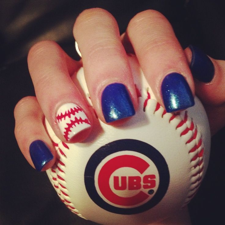 Chicago Cubs baseball nails ❤ Going to the game today and needed a cute nail  design Mazur Mazur Thoe Leissner - Baseball, Cubs Baseb Nails, Chicago Cubs Nails Art, Cute Nails