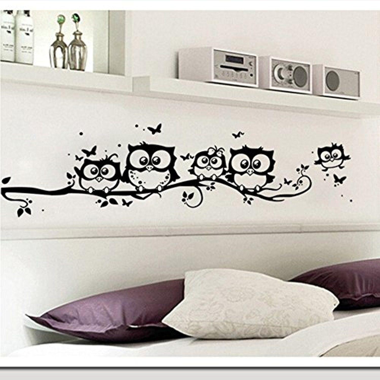 JD Million shop wall sticker tree animals bedroom Owl Butterfly Wall ...